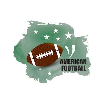 Carte d'aquarelle des Etats-Unis d'Amérique et son drapeau avec un ballon de football américain