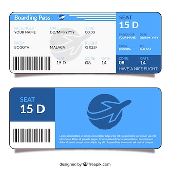 Carte d'embarquement Blue design plat
