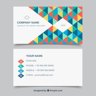 Carte d'entreprise de triangles colorés