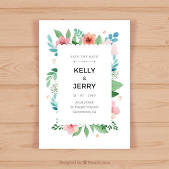 Carte d'invitation de mariage avec des fleurs colorées