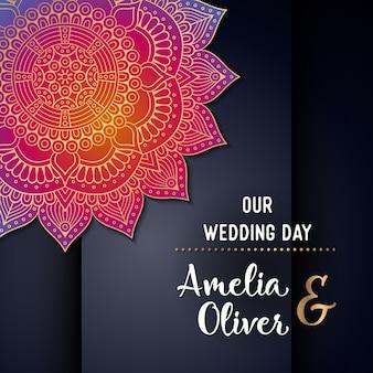 Carte d'invitation de mariage de vecteur Éléments décoratifs vintage avec mandala