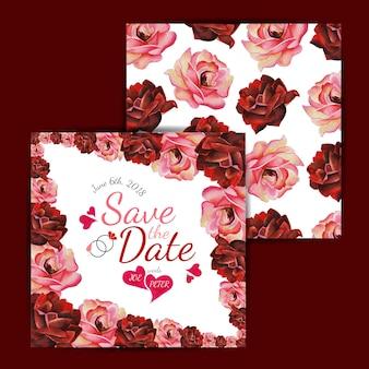 Carte d'invitation de mariage floral d'aquarelle