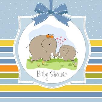 Carte de baby shower avec bébé éléphant et sa mère