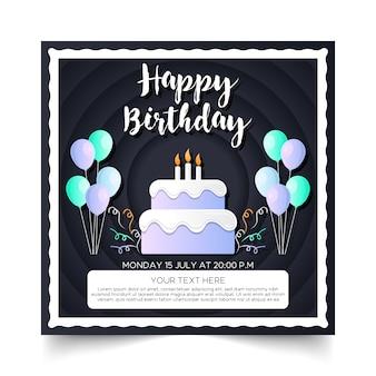 Carte de bon anniversaire carte noire
