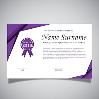 Carte de certificat blanche et violette