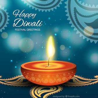 Carte de Diwali avec 3d bougie