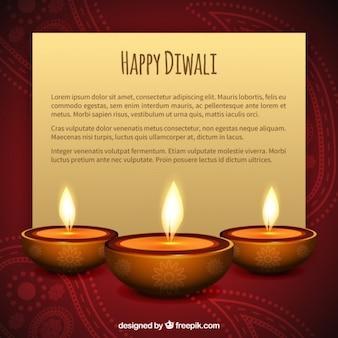 Carte de Diwali avec des bougies