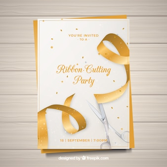 Carte de fête d'ouverture avec ruban d'or