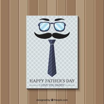Carte de fête des pères en style rétro