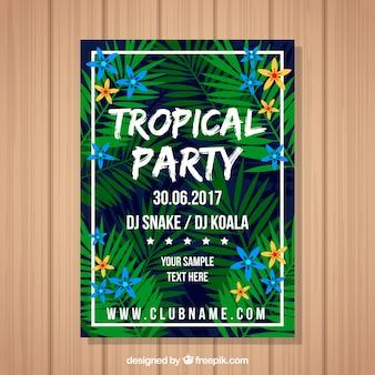 Carte de fête tropicale avec feuilles de palmier