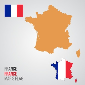Carte de France et Drapeau