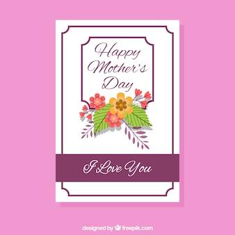 Carte de jour avec des fleurs plates Mère