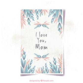 Carte de jour avec la végétation rose et bleu de la mère