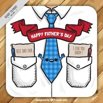 carte de jour de la chemise de père en forme avec une cravate agréable