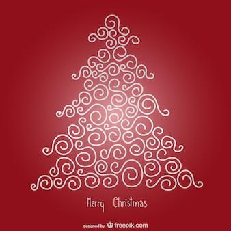 Carte de Joyeux Noël avec l'arbre minimaliste