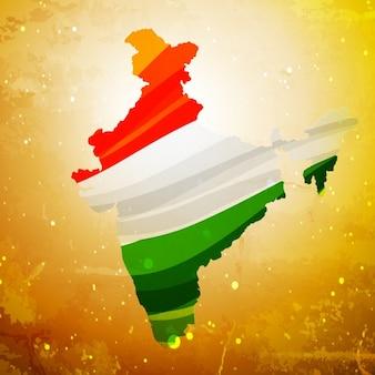 Carte de l'Inde dans le vieux fond texturé