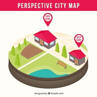 Carte de la ville avec perspective