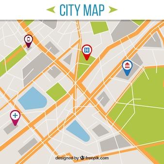Carte de la ville avec pointeurs
