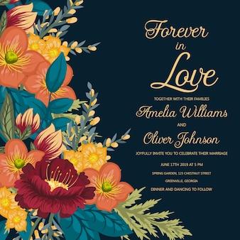Carte de mariage avec de belles fleurs