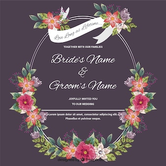 Carte de mariage avec des détails floraux dessinés à la main