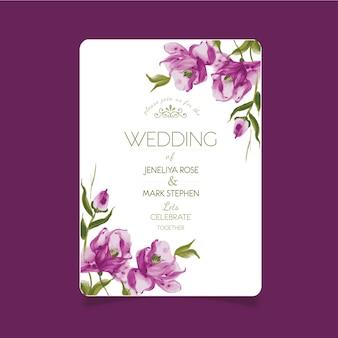 Carte de mariage avec des fleurs