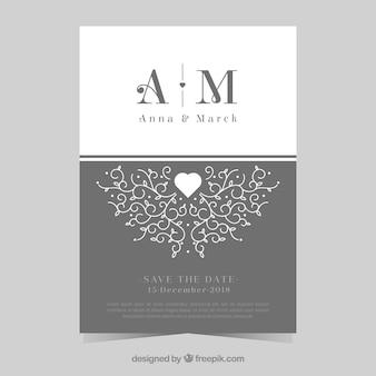 Carte de mariage avec des ornements originaux