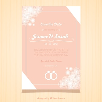 Carte de mariage design rose