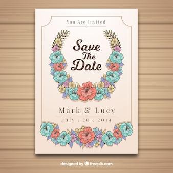 Carte de mariage dessinée à la main avec des fleurs colorées