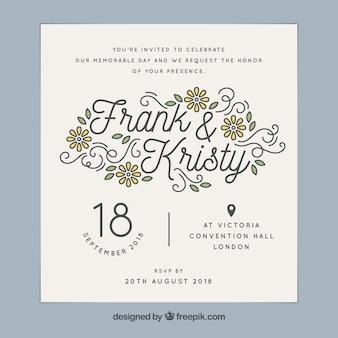 Carte de mariage florale