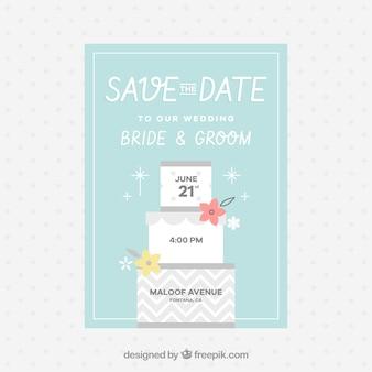Carte de mariage plate avec gâteau