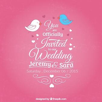 Carte de mariage rose dans le style de lettrage