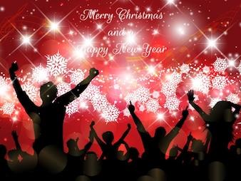 Carte de Noël avec bokeh foule
