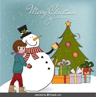 Carte de Noël avec une fille et bonhomme de neige
