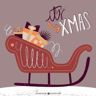 Carte de Noël sur luge