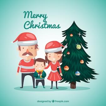 Carte de Noël Turquoise avec Arbres