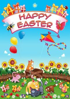 Carte de Pâques heureuse avec les chats et les oeufs drôles illustration de bande dessinée vecteur