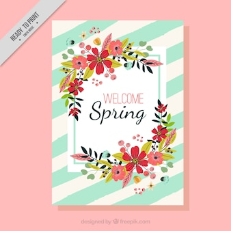Carte de printemps avec des fleurs