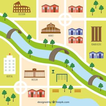 Carte de Rome avec un design plat