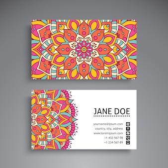 Carte de visite Vintage Decorative elements Ornamental floral business cards oriental pattern vector illustration