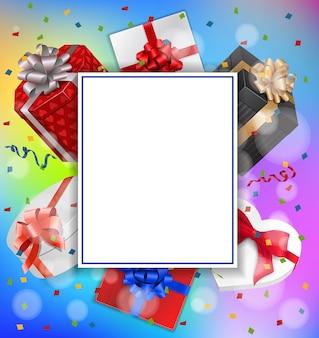 Carte de voeux, cadeaux et feuille de papier