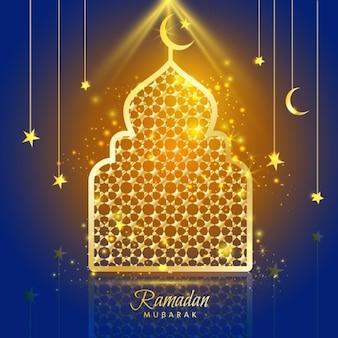 Carte de voeux de conception Ramadan Kareem avec la silhouette de la mosquée