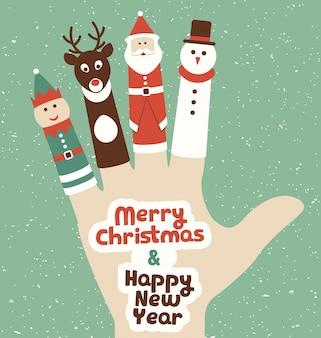 Carte de voeux de marionnettes de doigt de Noël