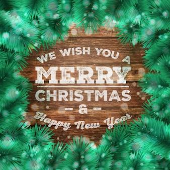 Carte de voeux de Noël avec la branche de pin