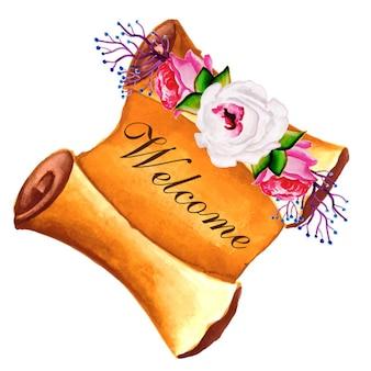 Carte de voeux florale d'aquarelle