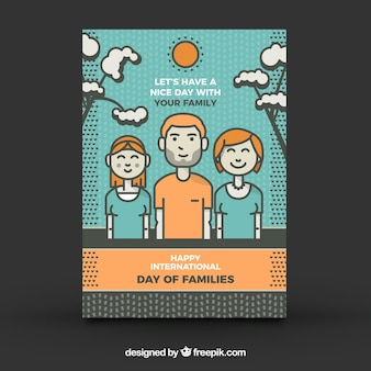 Carte de voeux mignonne pour le jour international des familles avec détails orange