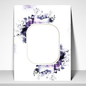 Carte de voeux ou carte d'invitation avec des fleurs d'aquarelle.