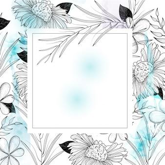 Carte de voeux ou fond de carte d'invitation avec des fleurs.