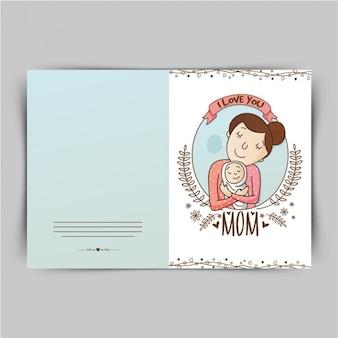 Carte dessinée à la main pour la fête des mères