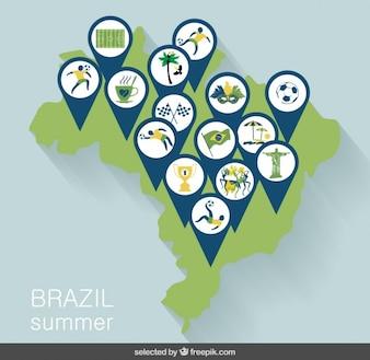 Carte du Brésil avec des épingles sportif