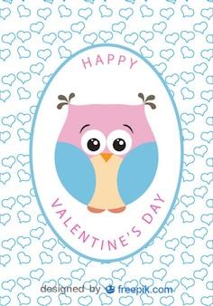 Carte du jour de bande dessinée hibou vecteur valentine